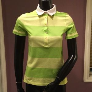 Lilly Pulitzer Green and Yellow Striped Polo